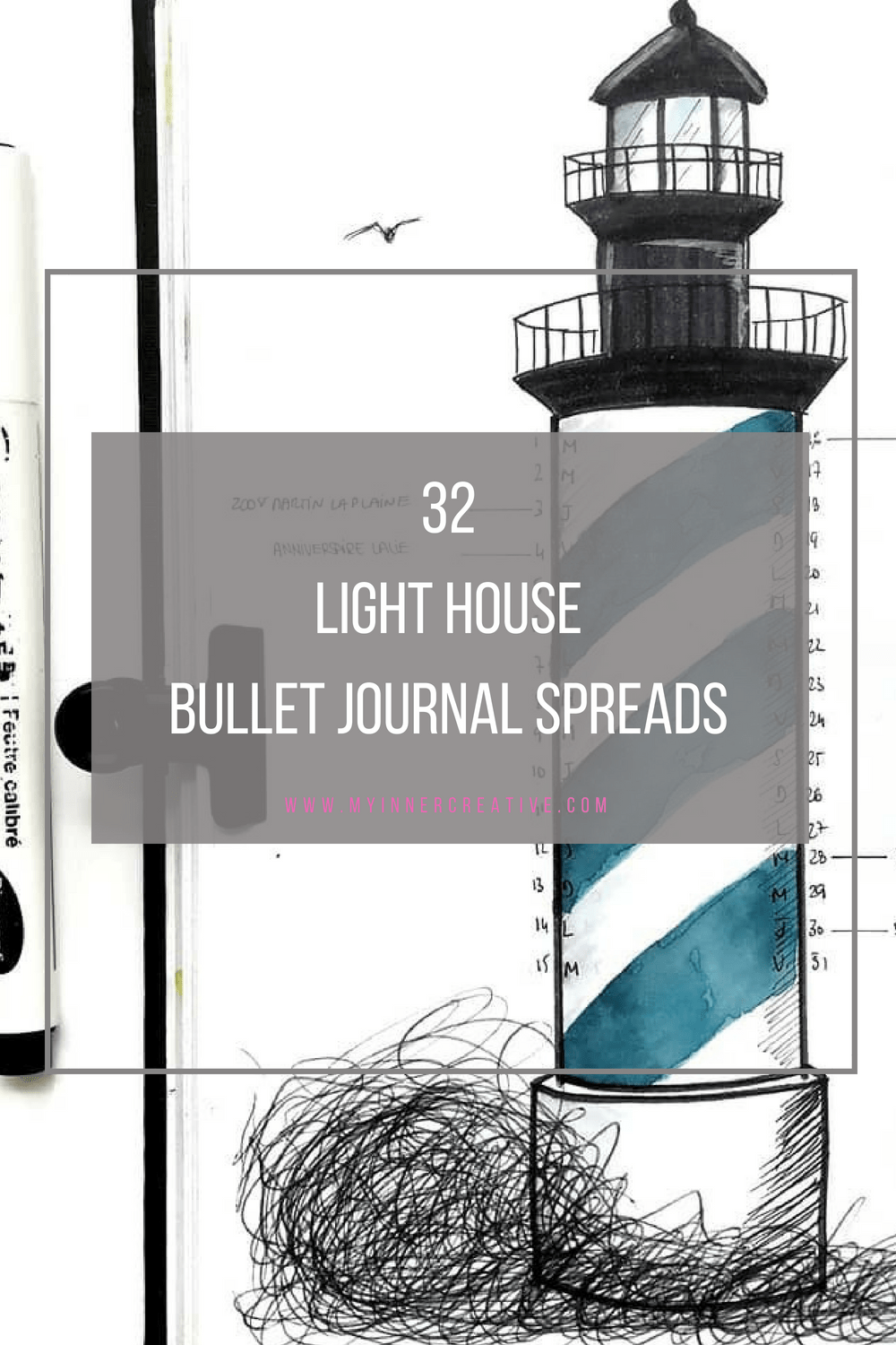 light house bullet journal spread layout