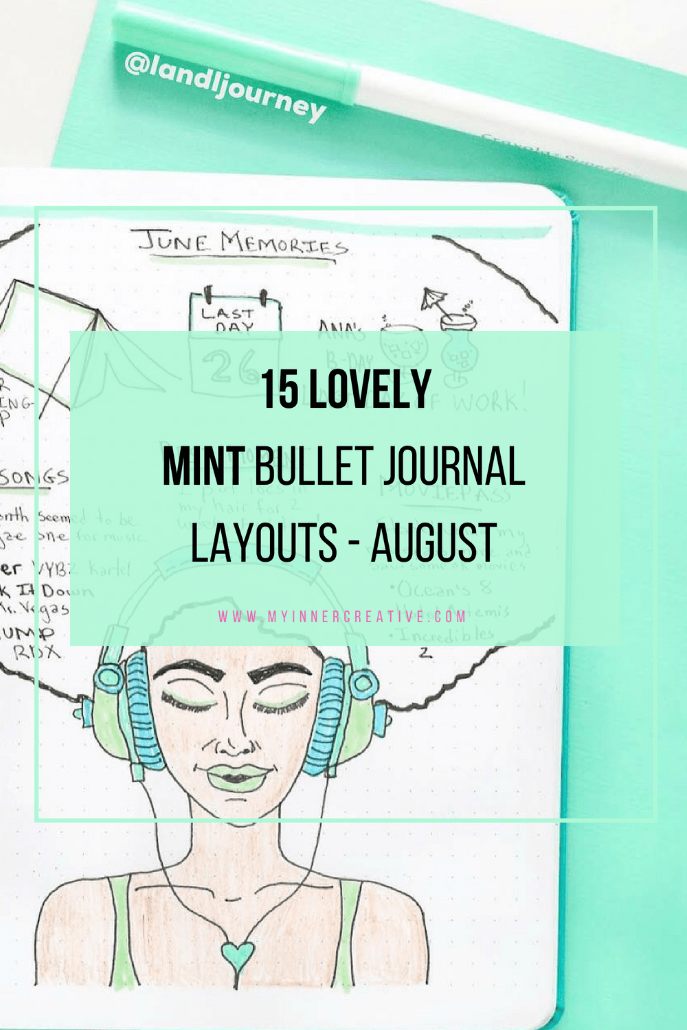 mint bullet journal layout