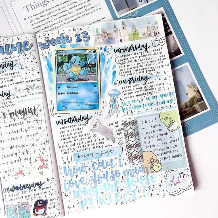 blue spreads and layouts - August