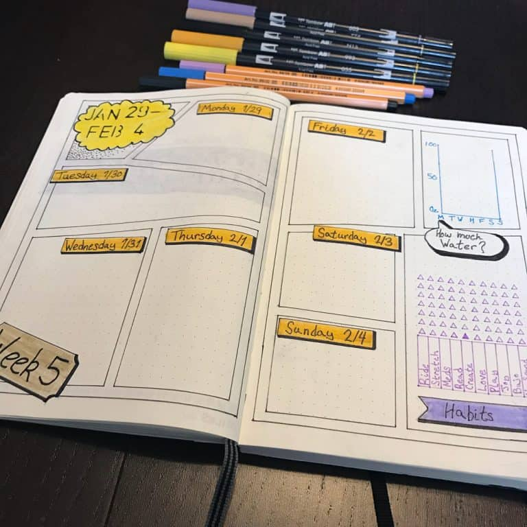 comic bullet journal spreads and layouts