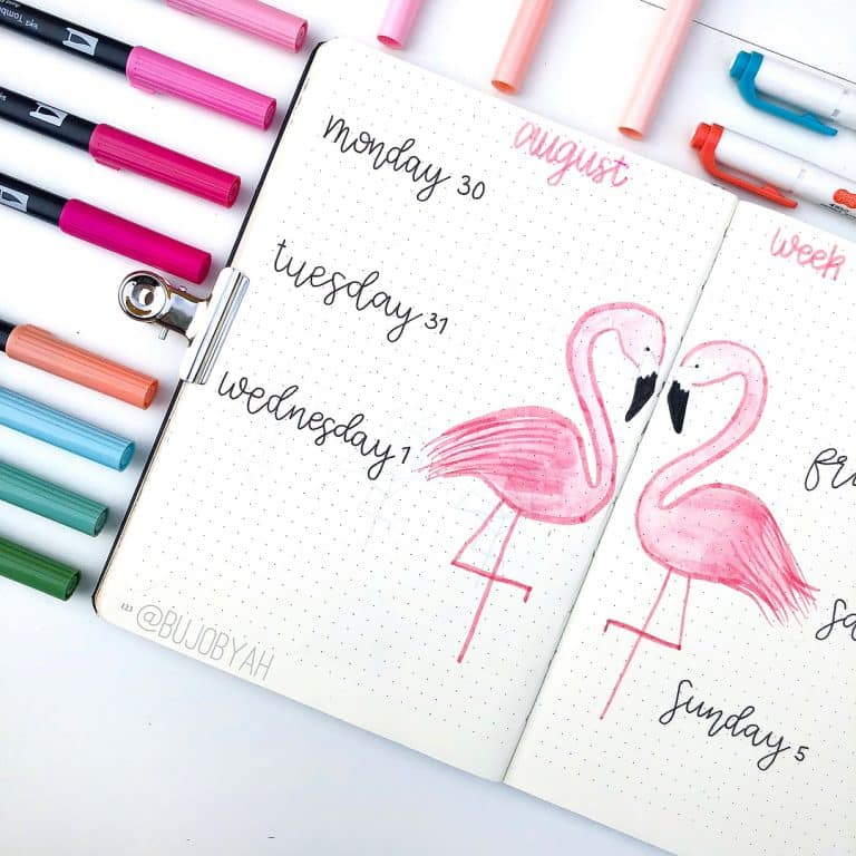 flamingo bullet journal layout & spread