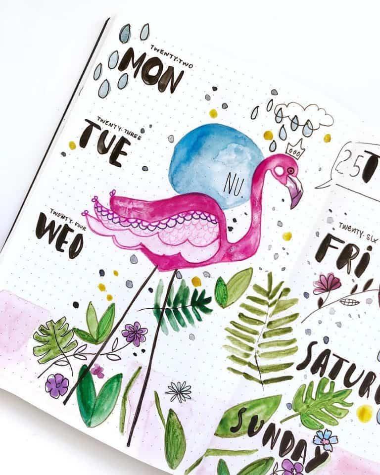 flamingo bullet journal layout & spread