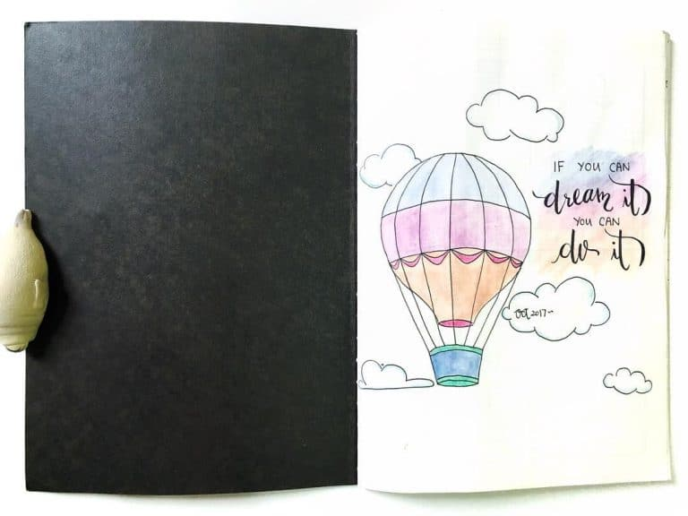 hot air balloon bullet journal layout
