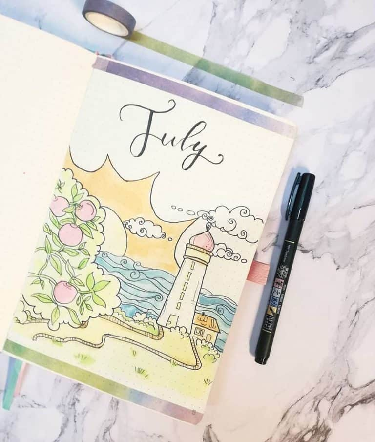 lighthouse bullet journal layout & spread