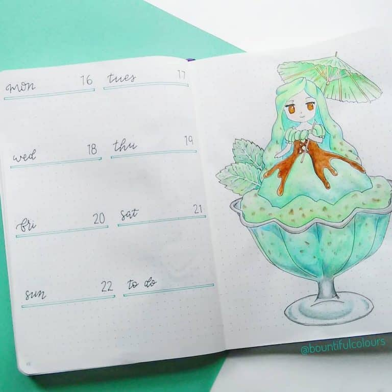 mint bullet journal layout ideas