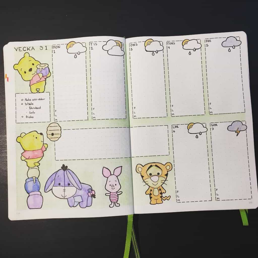 Winnie the Pooh inspired bullet journal