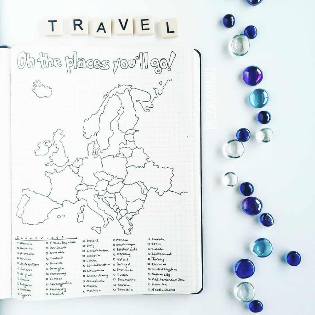 travel bullet journal layout