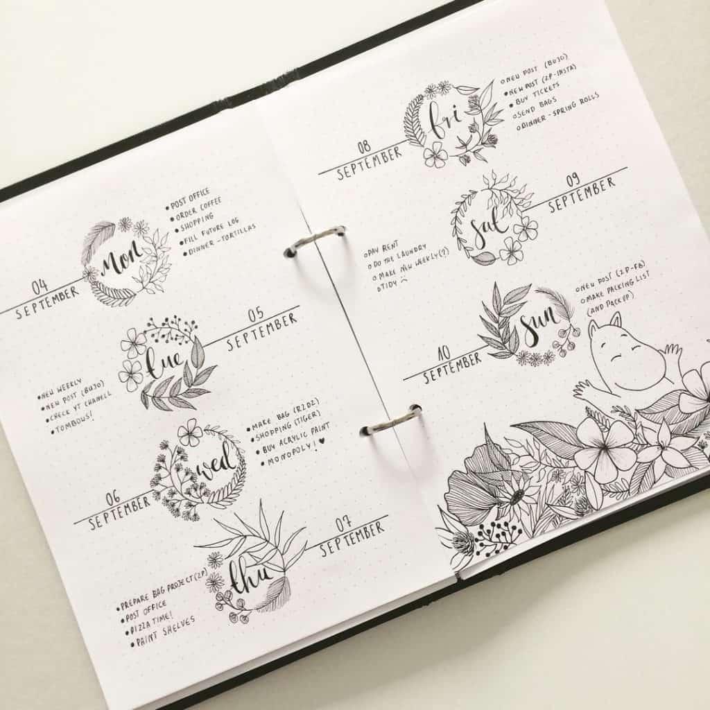 Moomin themed bullet journal spread