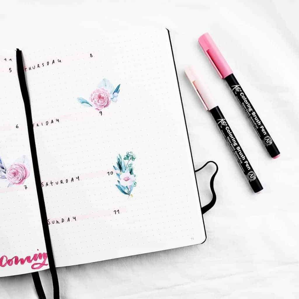 Pink Bullet Journal Spreads