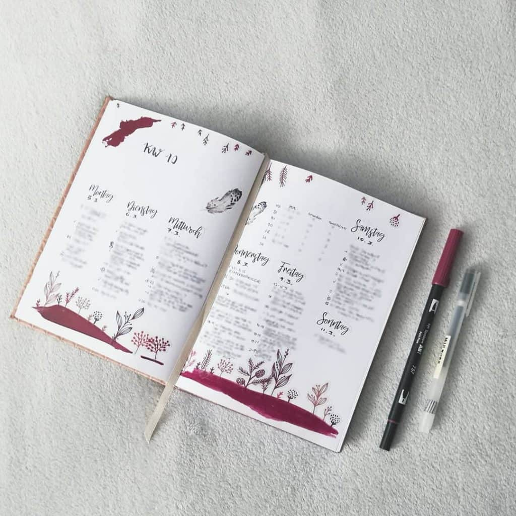 Red bullet journal layout ideas