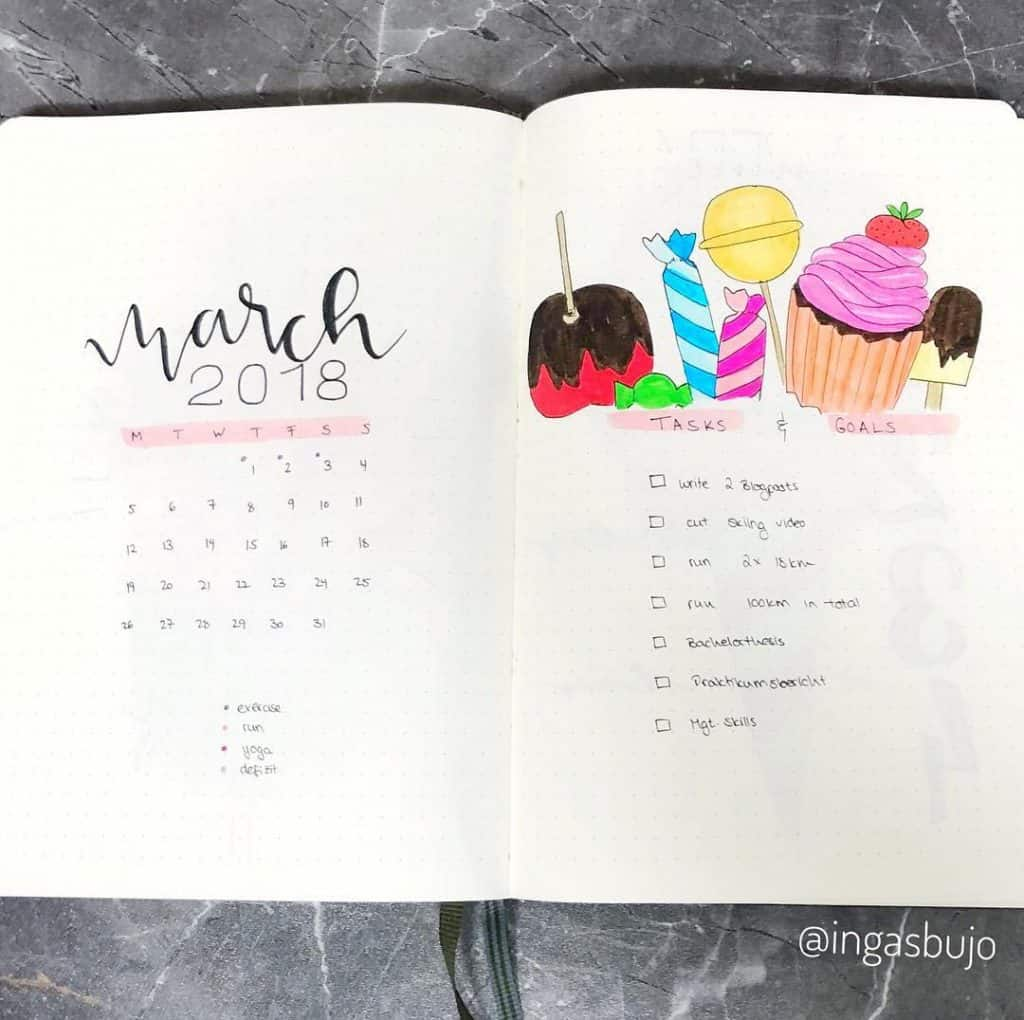 cupcake inspired bullet journal layout