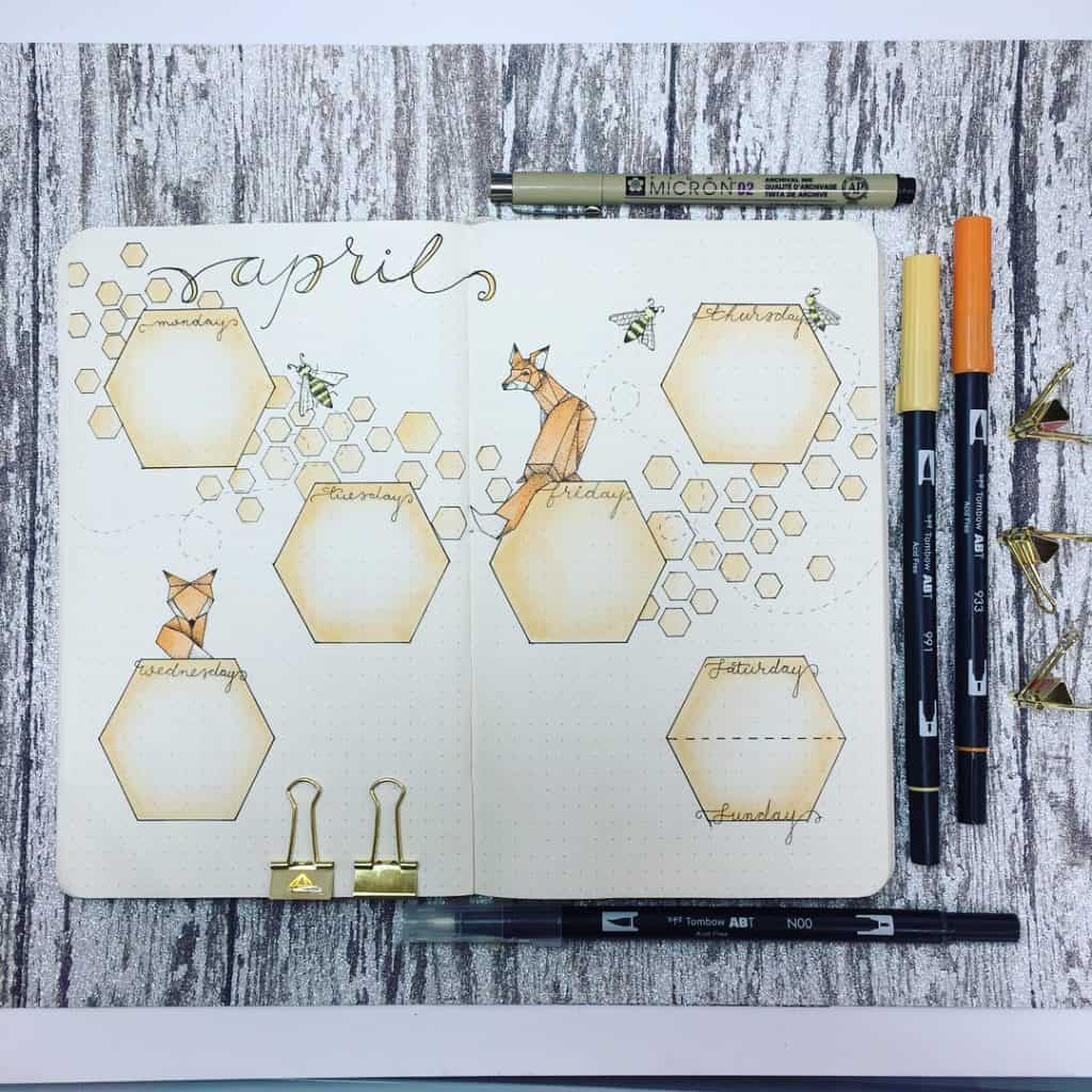 Fox themed bullet journal ideas