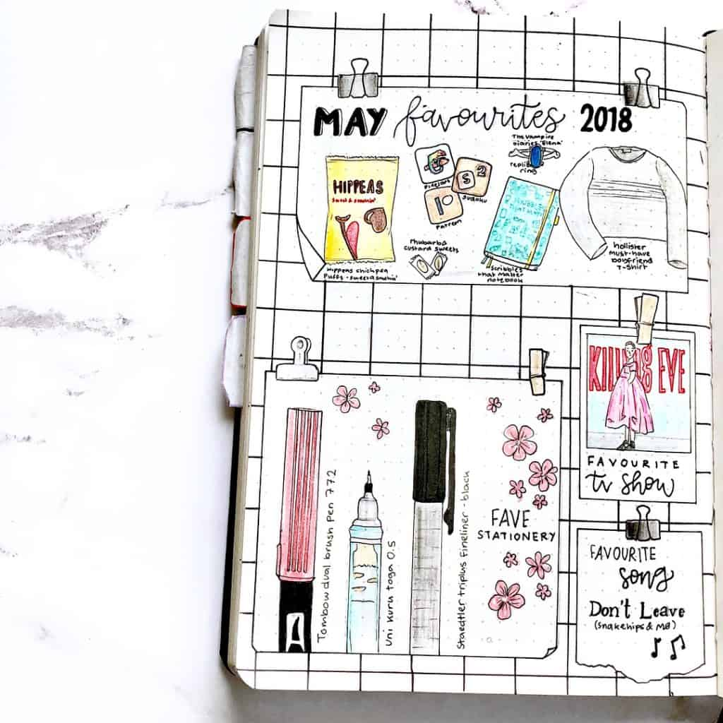 Pin board inspired bullet journal layout