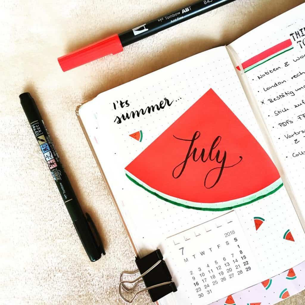 Watermelon bullet journal ideas