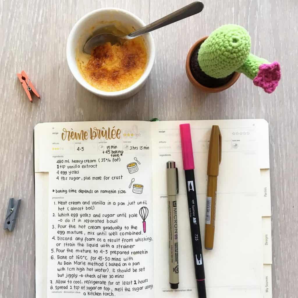 recipes in your bullet journal