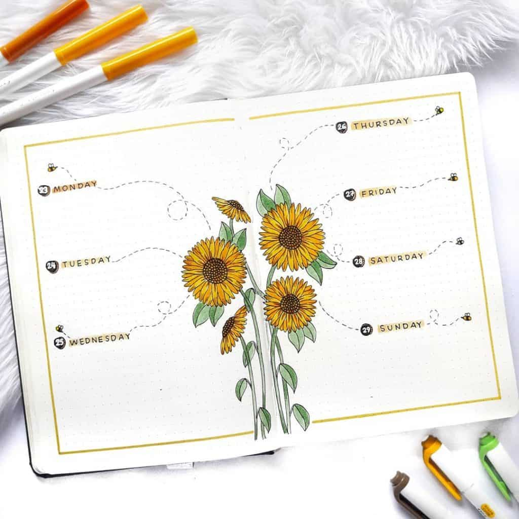 sunflower bullet journal layout
