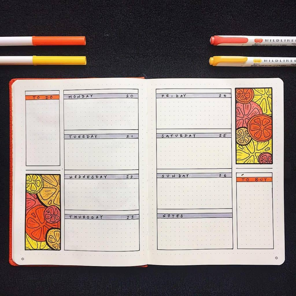 Citrus bullet journal theme ideas