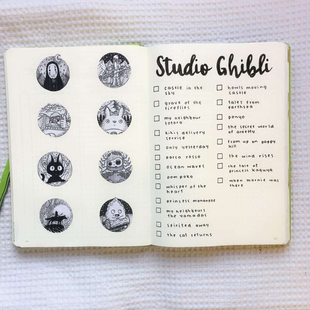 Studio Ghibli themed bullet journal ideas