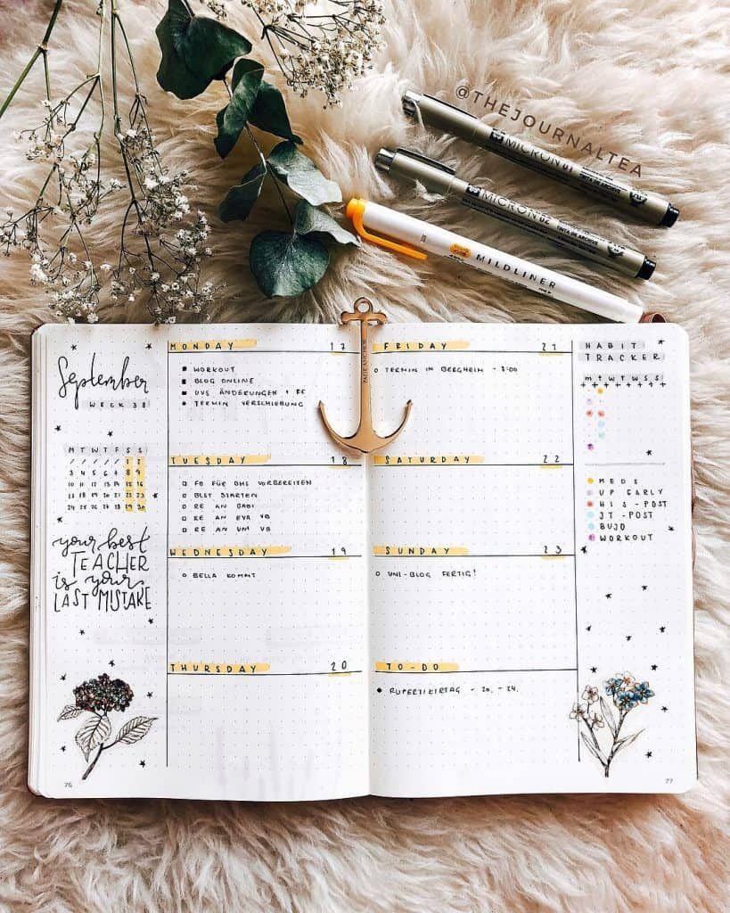 Simple easy and uncluttered spread the ideas for Bullet journaling