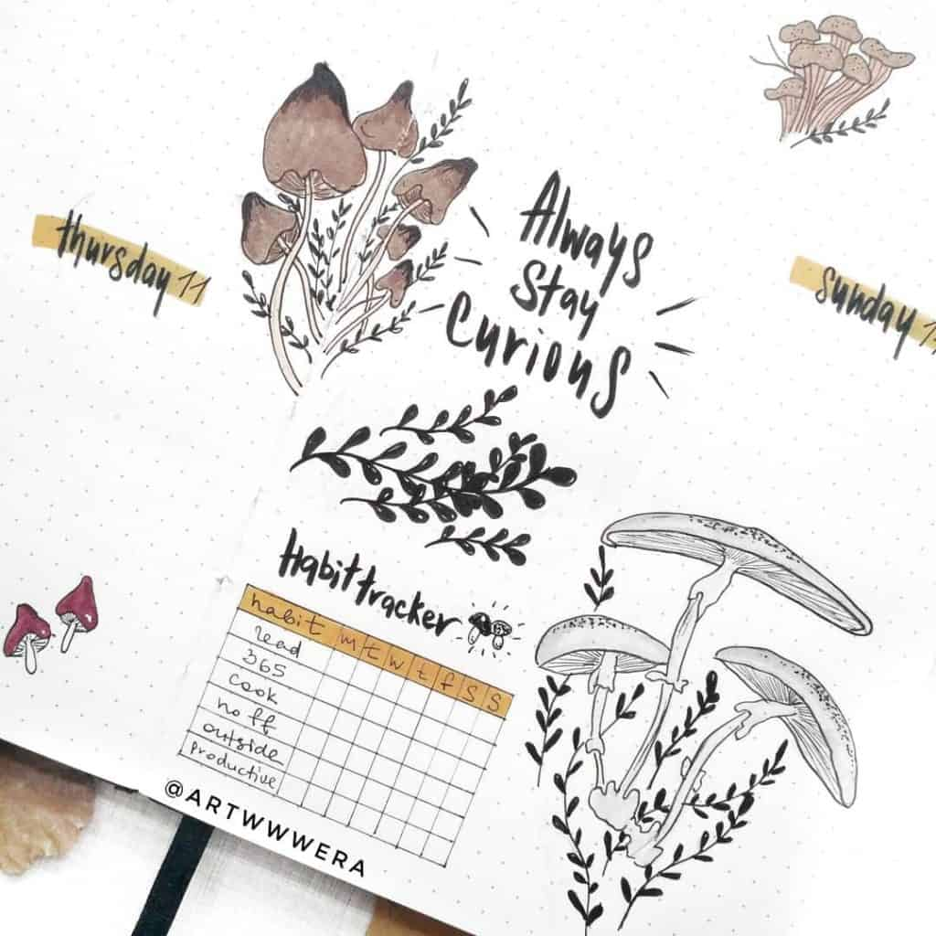 Mushroom bullet journal theme
