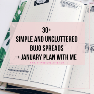 Simple easy and uncluttered spread the ideas for Bullet journaling + January Plan with me