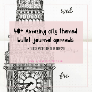 City themed bullet journal spreads